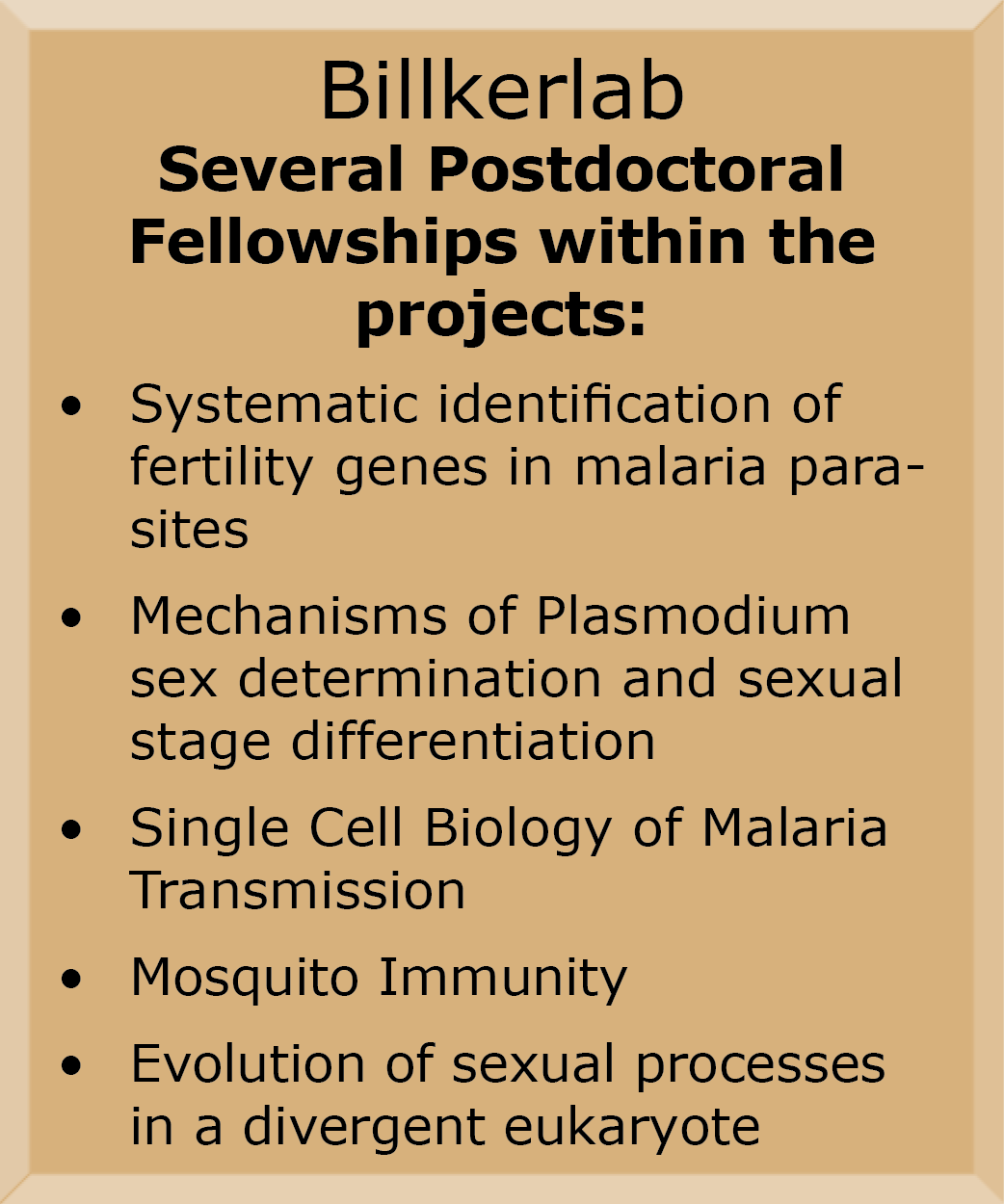 Billker lab postdoc fellowships